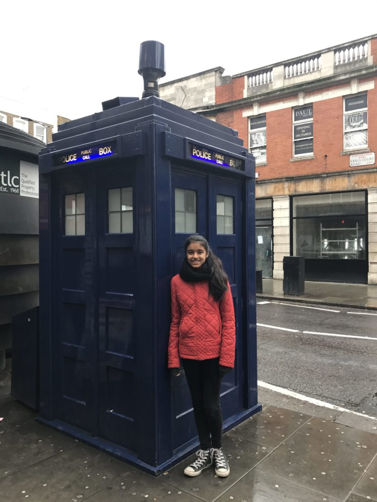 With the Tardis from Doctor Who outside of Earl's court station in London.
