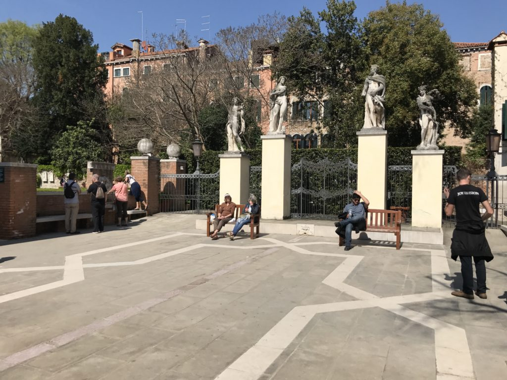 One of the sitting areas in the Ca'Rezzonica Palace garden in Venice.
