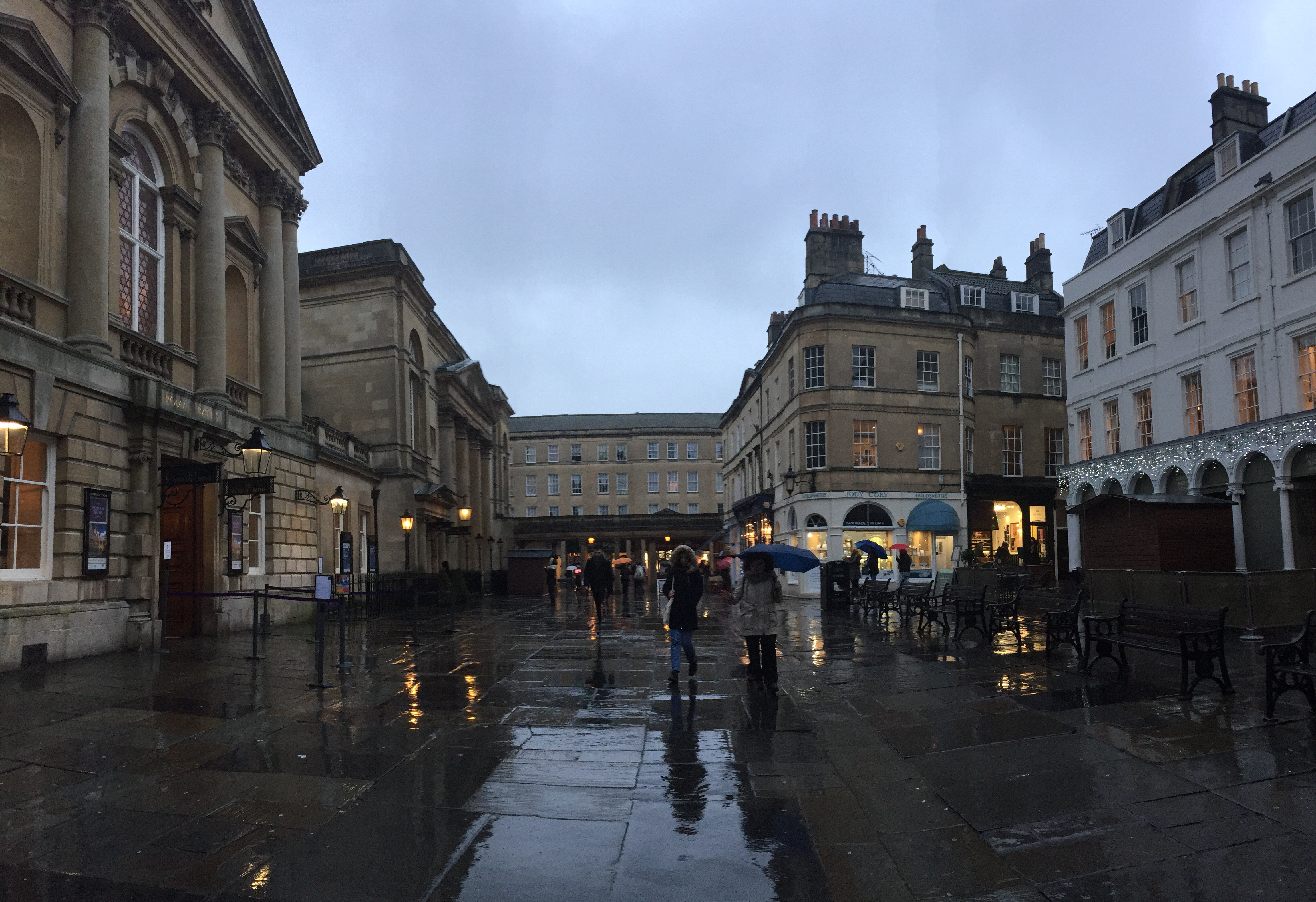 The Bath town square, looking romantic in the evening after a light shower.