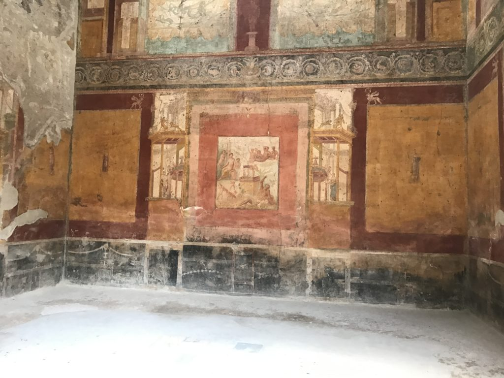Most houses still have beautiful paintings in their rooms. If Pompeiians were anything like Romans, they had spartan rooms with noting hanging on the walls and minimal furniture. But the walls were painted beautifully to transform you to another place or mood.
