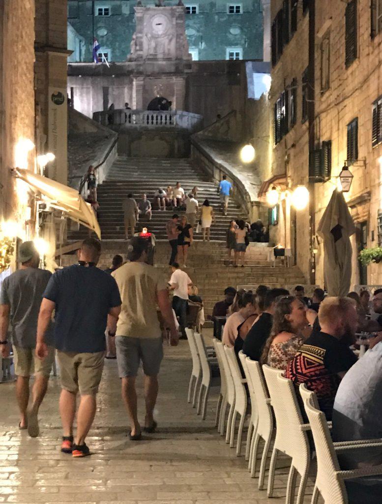 Steps in Dubrovnik, mini replica of the Spanish Steps in Rome and vibrant cafe scene