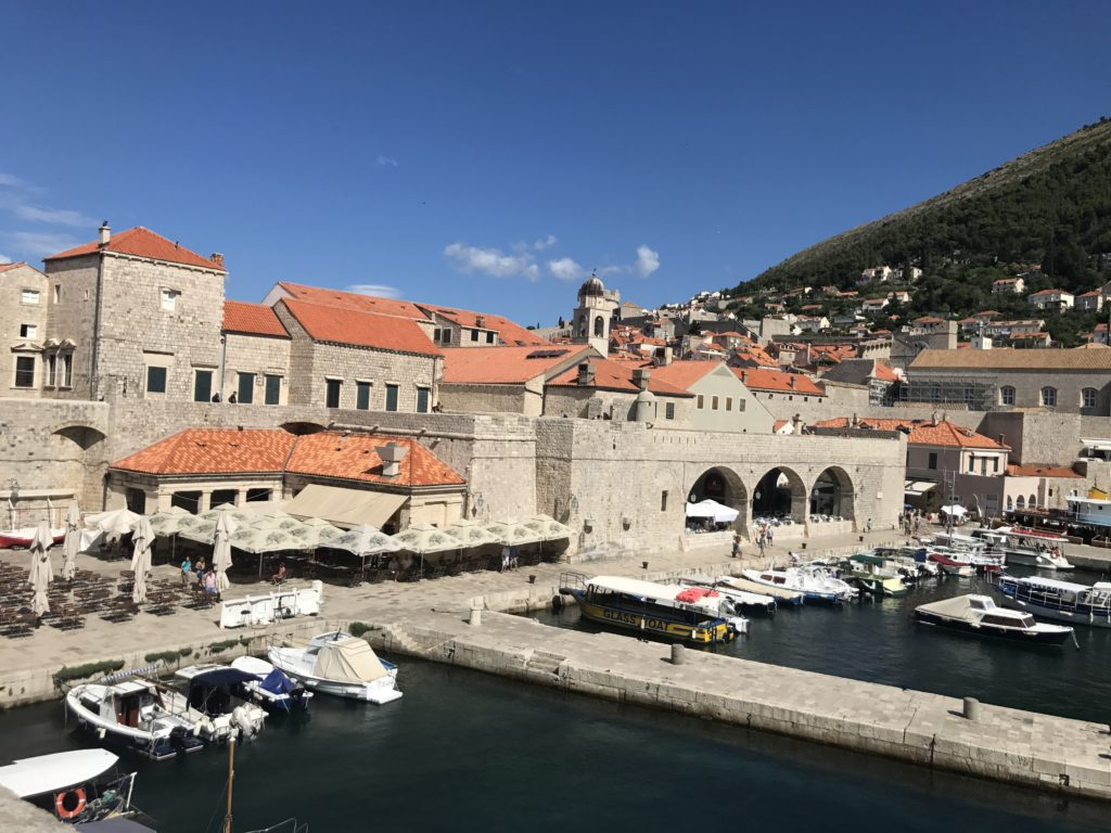 Looking at small Old port of Dubrovnik on arrival by water. From here There is a ferry to the island and small boats. The new port for cruise ships is further out.