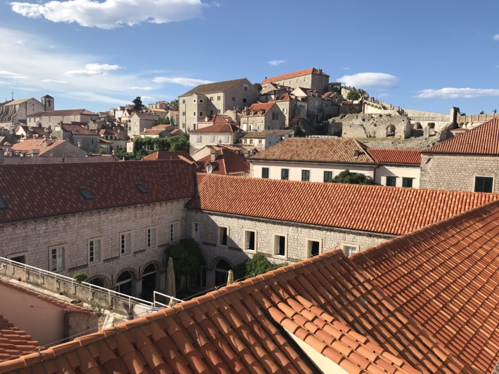The wall round Dubrovnik is higher than the buildings so it gives a great view of the old city and surrounding areas.
