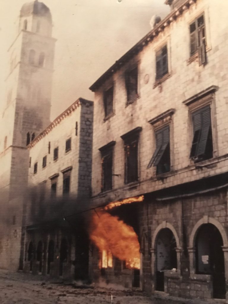The shops that look so pretty now were all burnt down by the Serbian war planes.