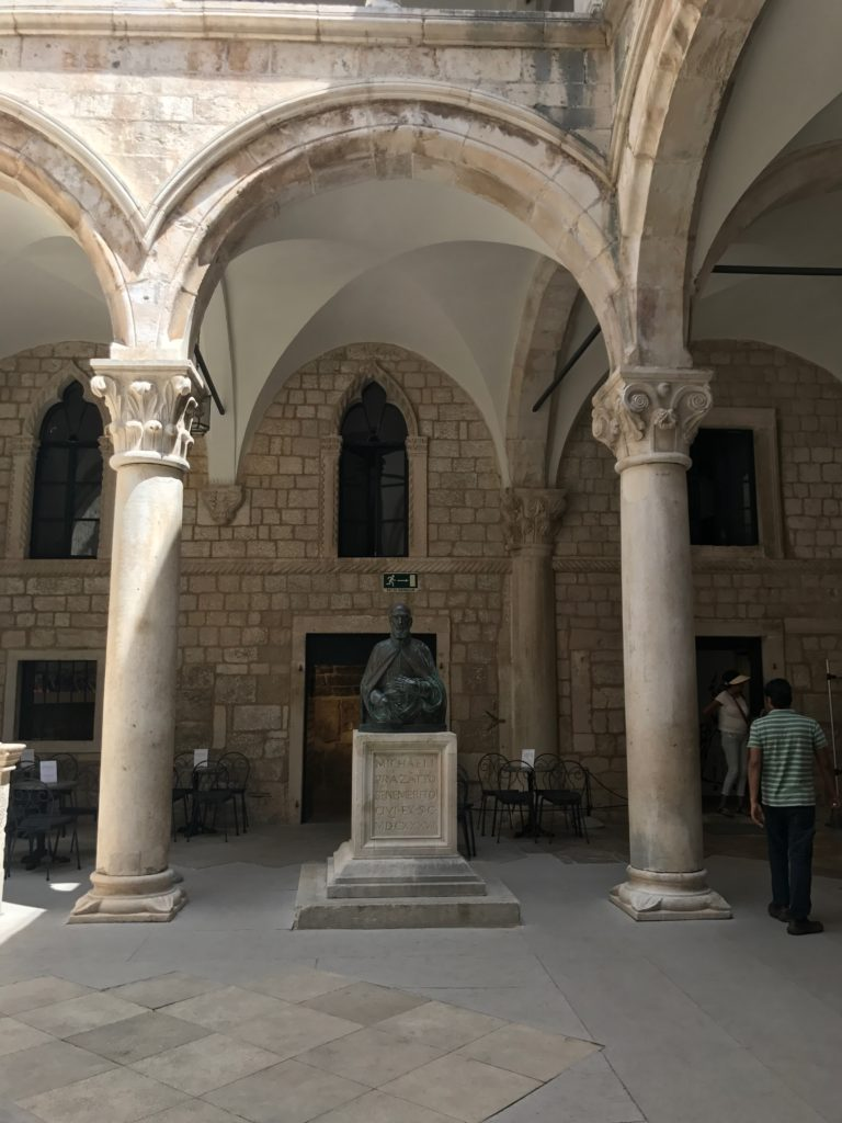 The courtyard and staircase form a beautiful venue for concerts in Dubrovnik.