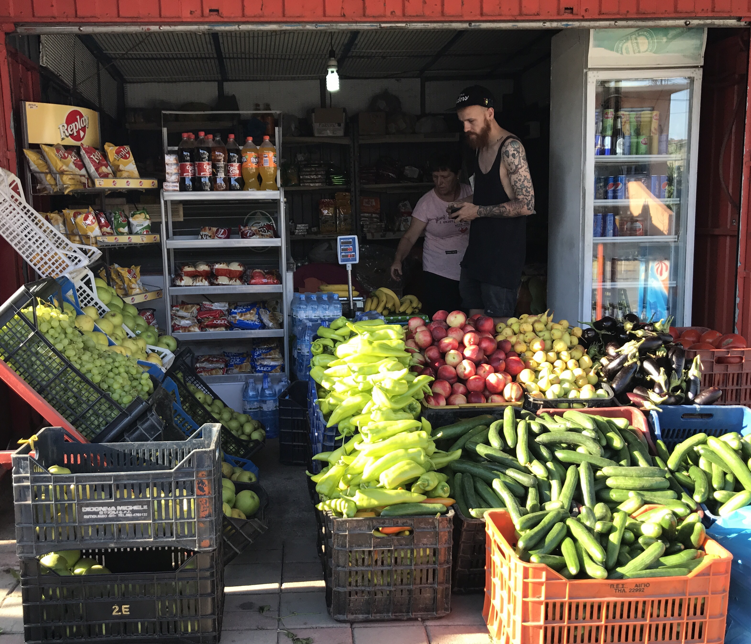Along the way from Skhoder to Lake Komani we stopped in a small town and sure enough it has a fresh vegetable stand, to pick delicious snacks for the day trip.