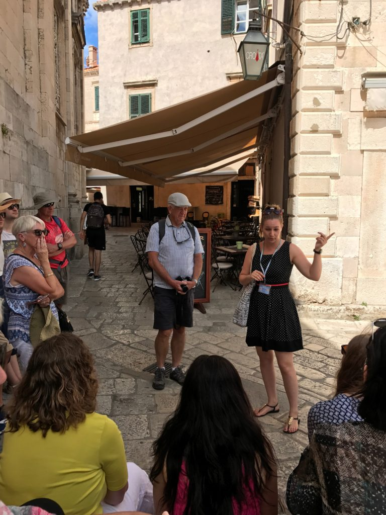 Ivana, our tour guide at the cathedral and under our apartment, the original Catholic nunnery.
