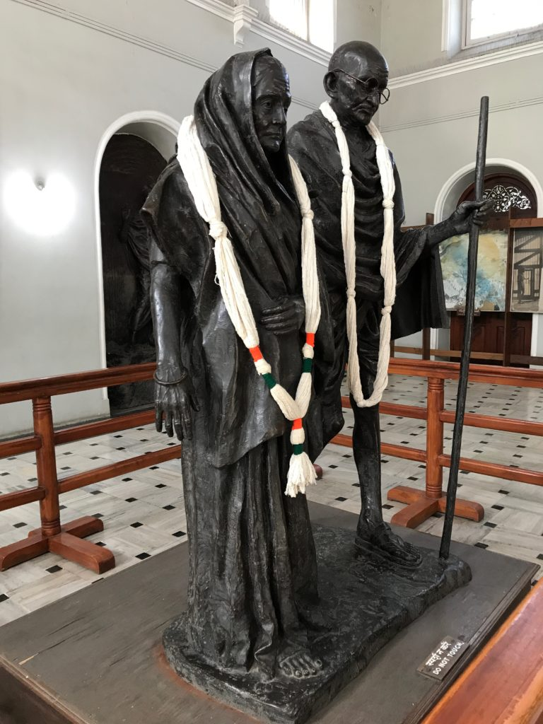 Kasturba and Gandhiji in Agakhan palace in Pune
