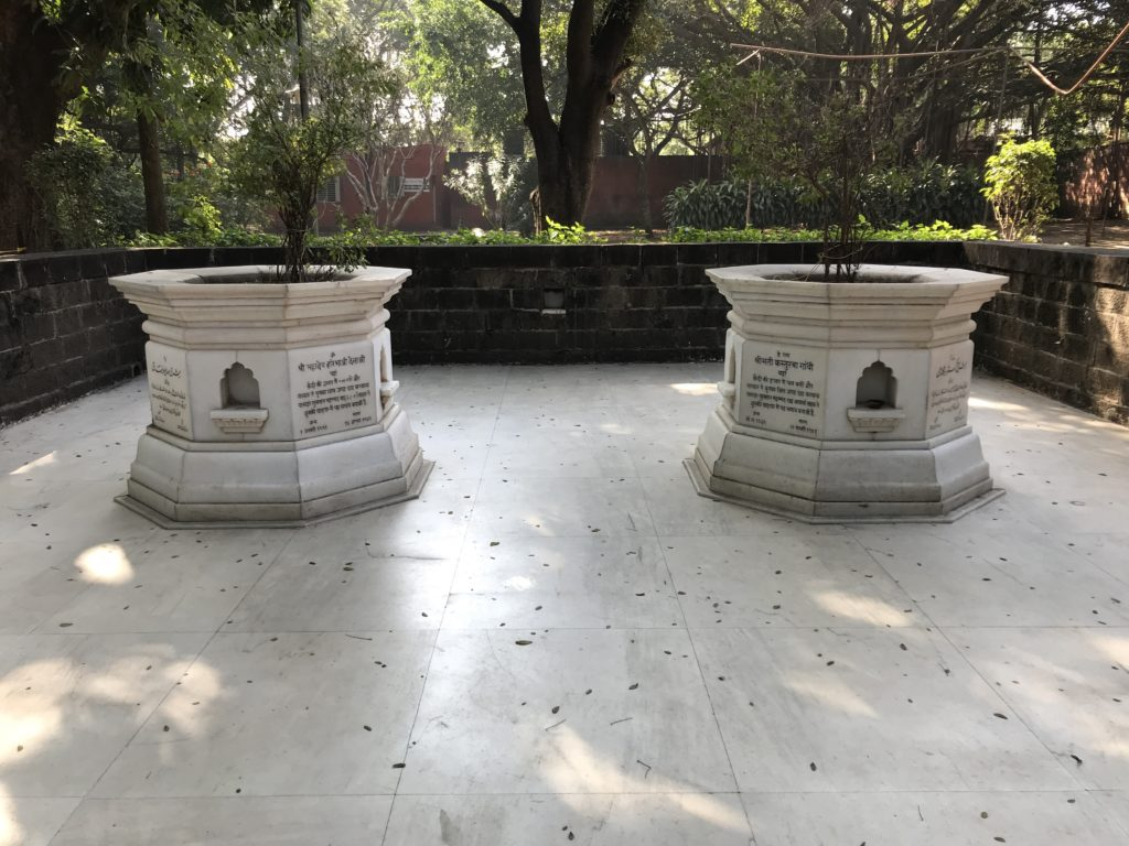 Kasturba Gandhi and Mahadev Desai's samadhi in Agakhan palace grounds. Like mother and son lay in peace.
