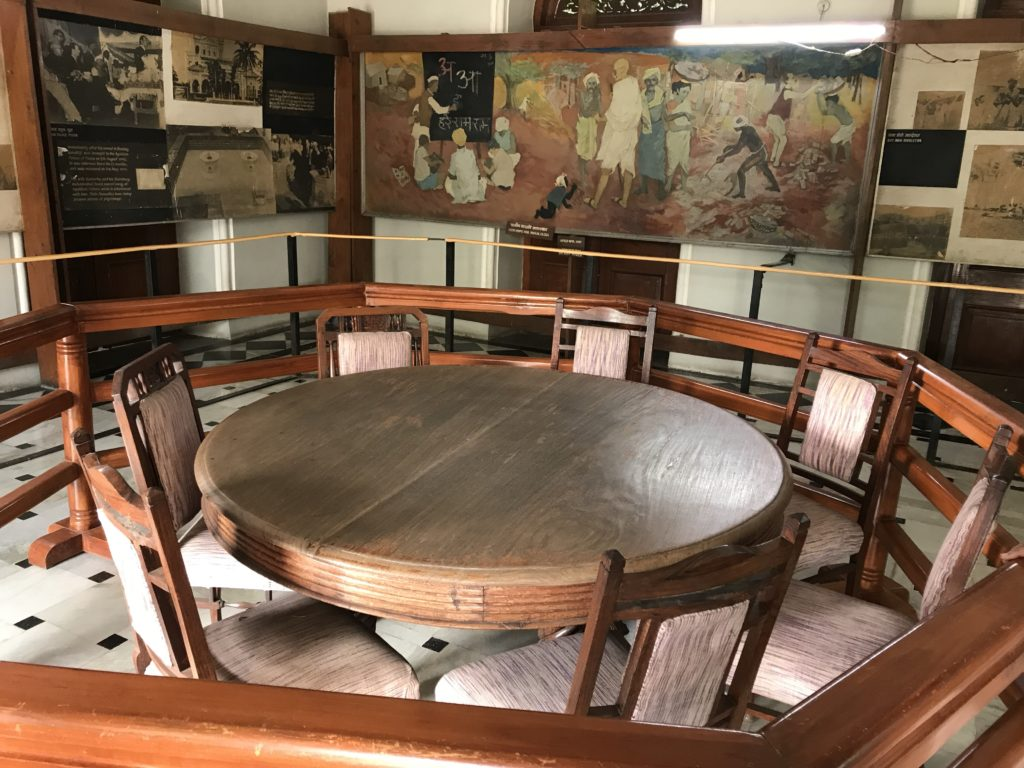 The dining room and dining set where Gandhiji's group ate and met guests. Sarojini Naidu enjoyed cooking and entertaining.
