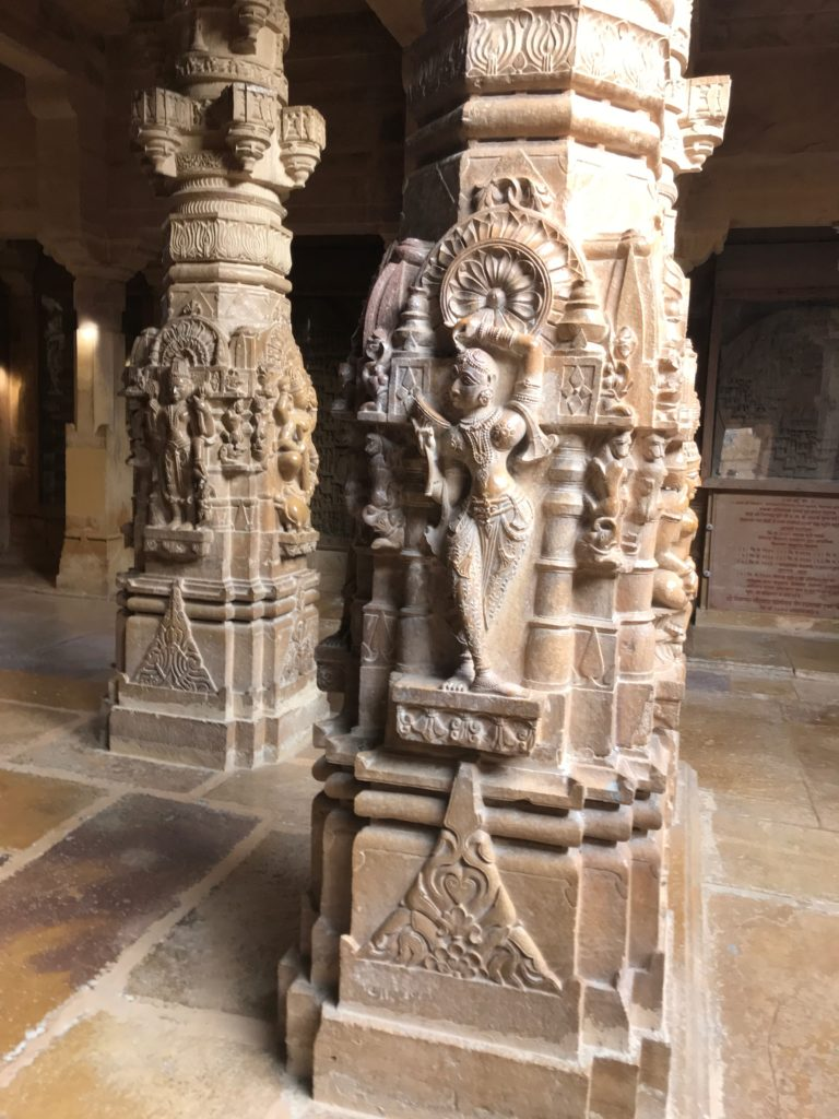 Figures of beautiful dancing women cover many pillars in Jain temples, a top tourist attraction of Jaisalmer.
