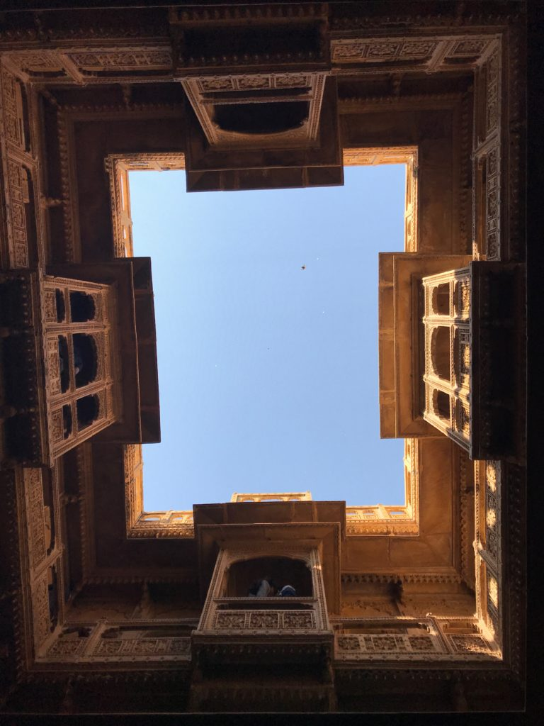 Looking up from the chowk in the ground floor.