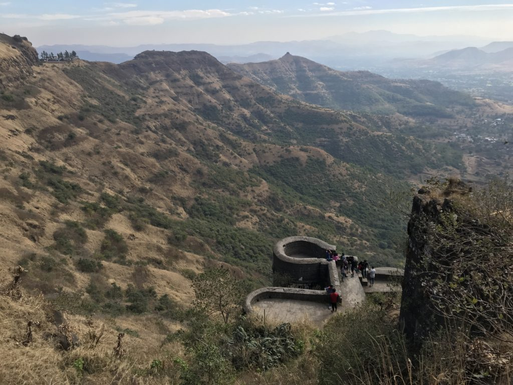 The Sinhagad fort is perched on top of the mountains with incredible views. In the monsoon season there would uncountable waterfalls.