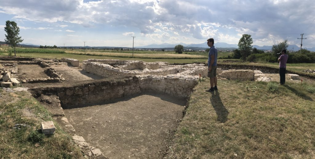 Walls of what looks like a villa in a Roman settlement in Kosovo.