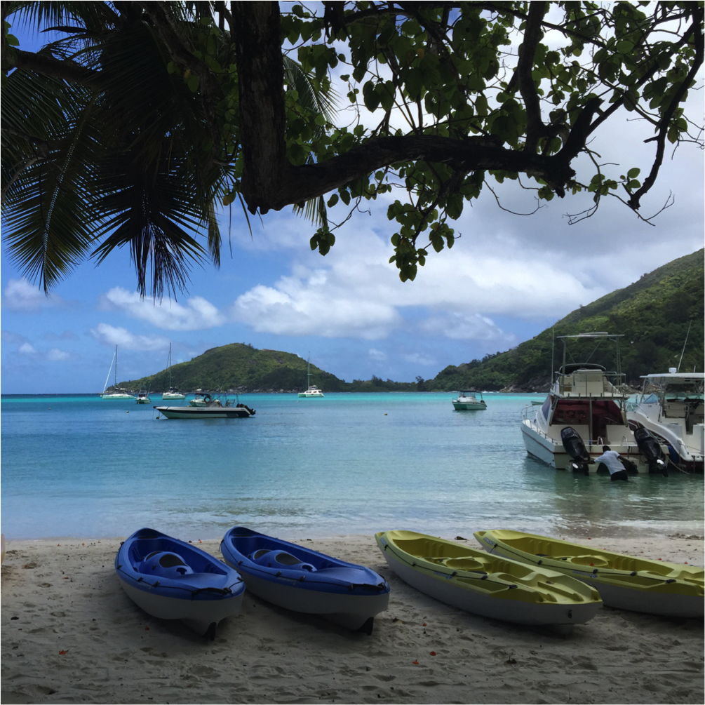 Seychelles, with boats on the beach