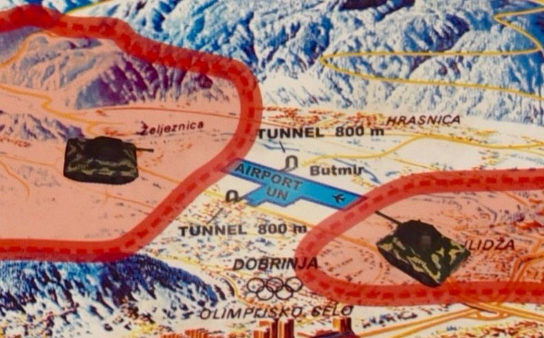 A section of the map shows Sarajevo's Tunnel of Hope was from one side of the airport runway to the other.