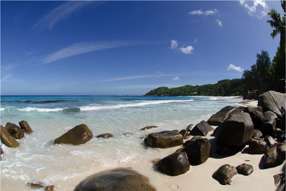 Seychelles rocks on the beach.
