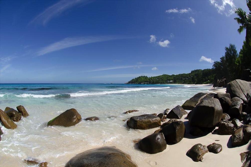 Seychelles rocks on the beach.