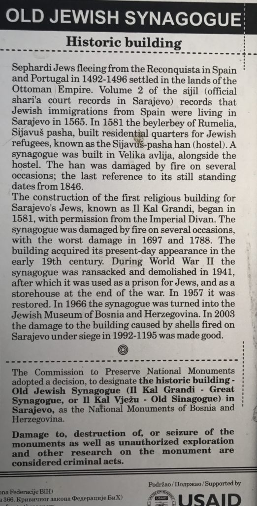 A little history of the old Jewish synagogue in Sarajevo