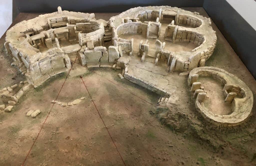 A model of the Mnajdra temples in Malta.