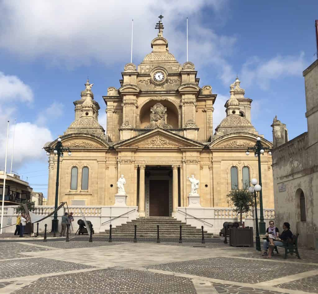 The town square and church of Nadur, Gozo.