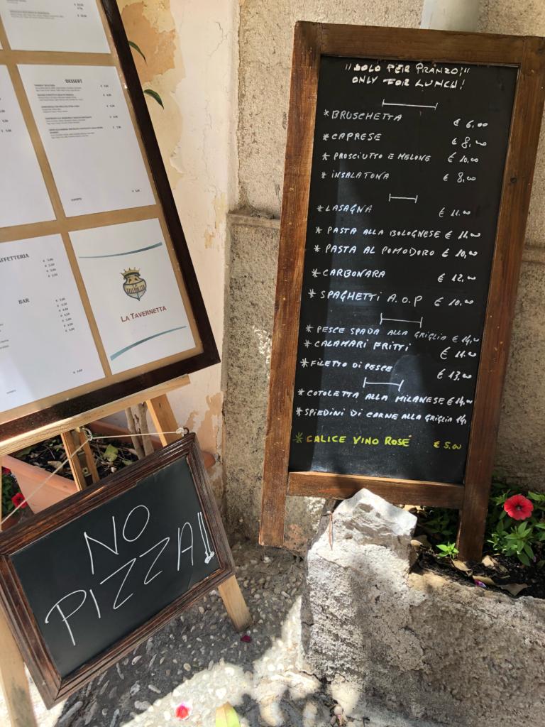 NO PIZZA in Sicily