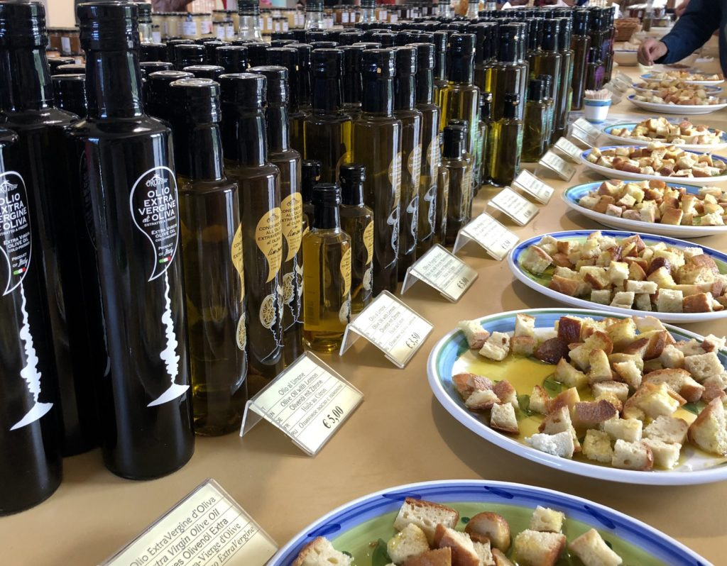 A variety of olive oils for tasting with bread