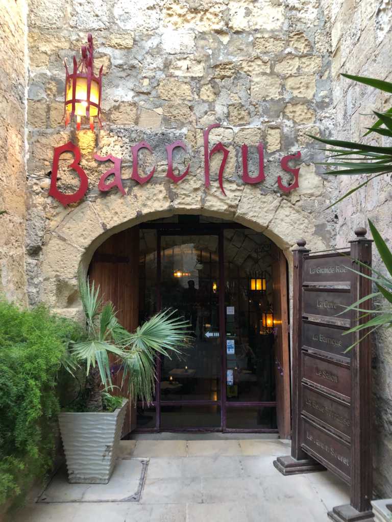 A cave like entrance to Bacchus restaurant in Mdina