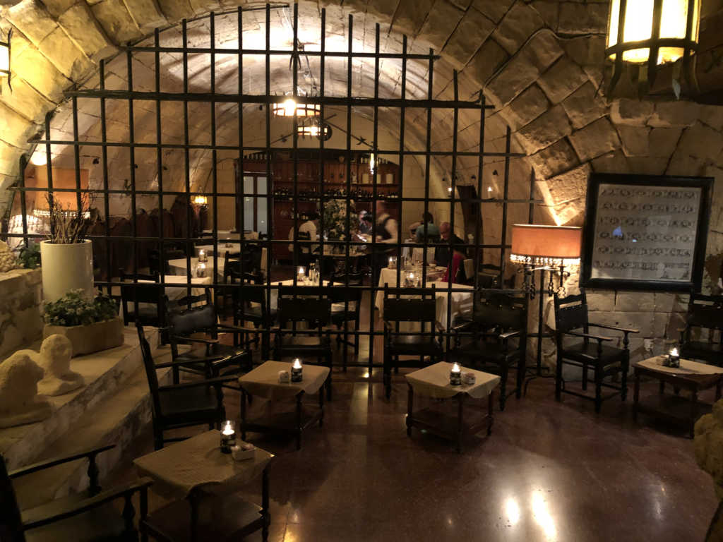 The reception area at the Bacchus Restaurant's entrance.