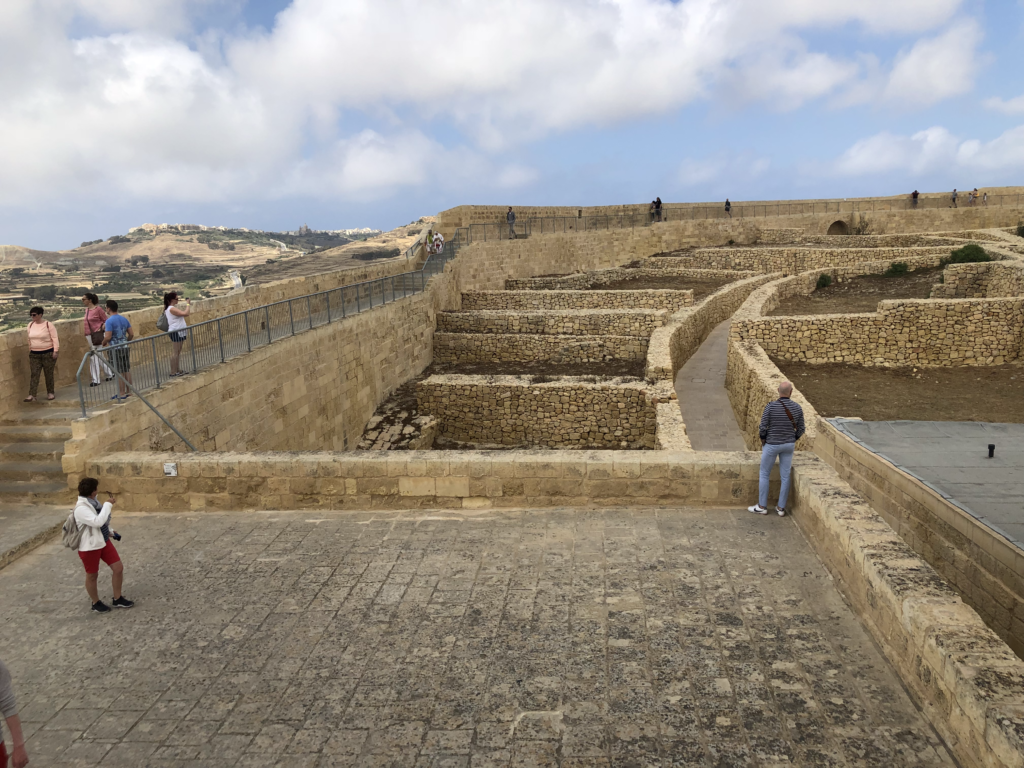 Great food with views all around, from the top of the Gozo fort.
