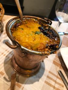 A piping hot tadka daal at Shiva's Indian Cuisine in St Julian's, Malta.