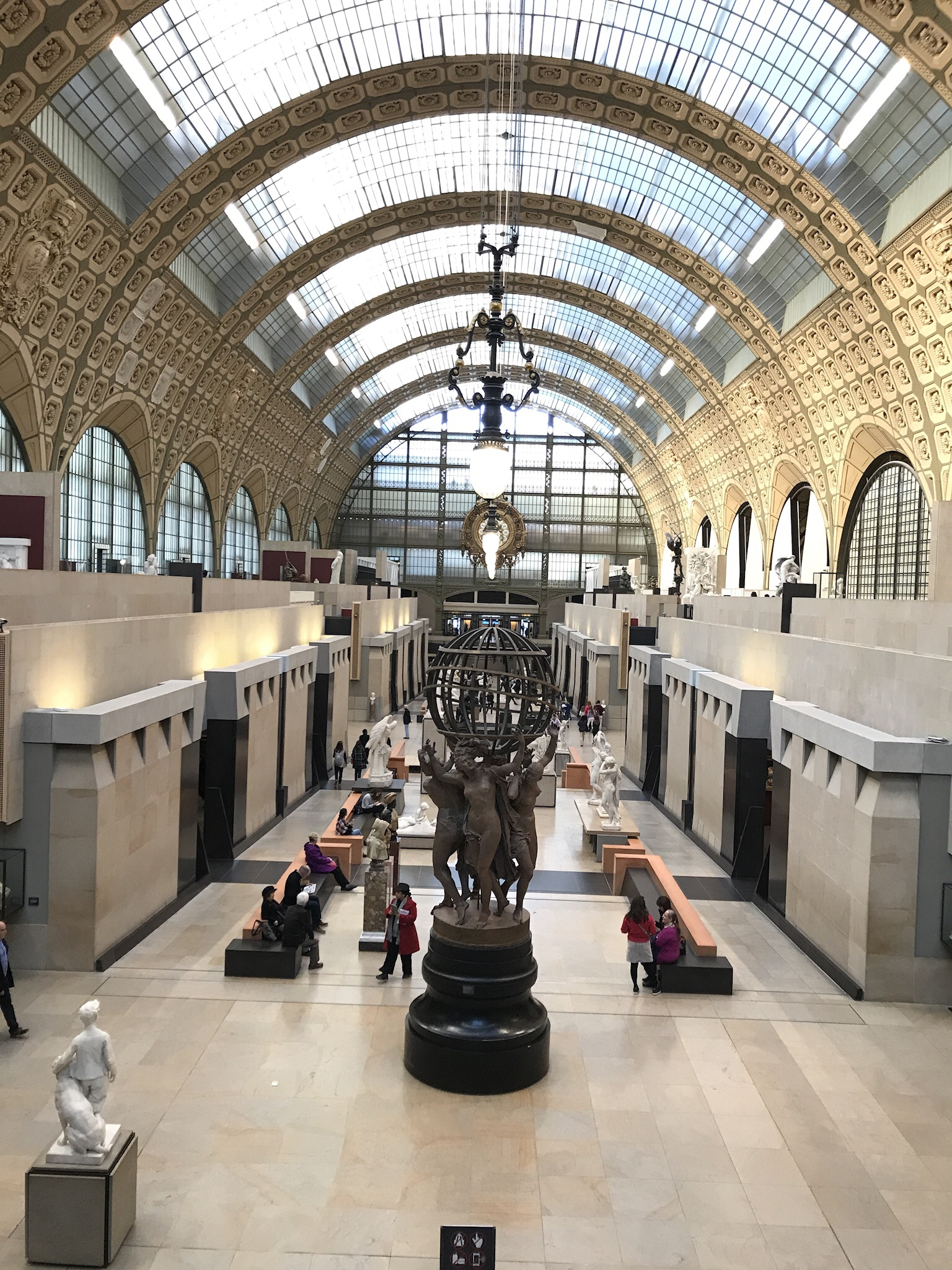 Musèe d'Orsay's hall was originally a train station and platform. The building was preserved and converted to this extraordinary museum.