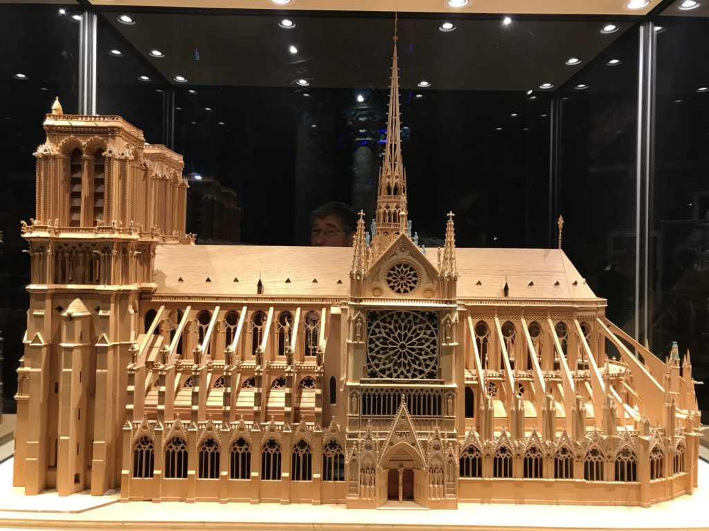 A scaled model of Notre Dame Cathedral in Paris