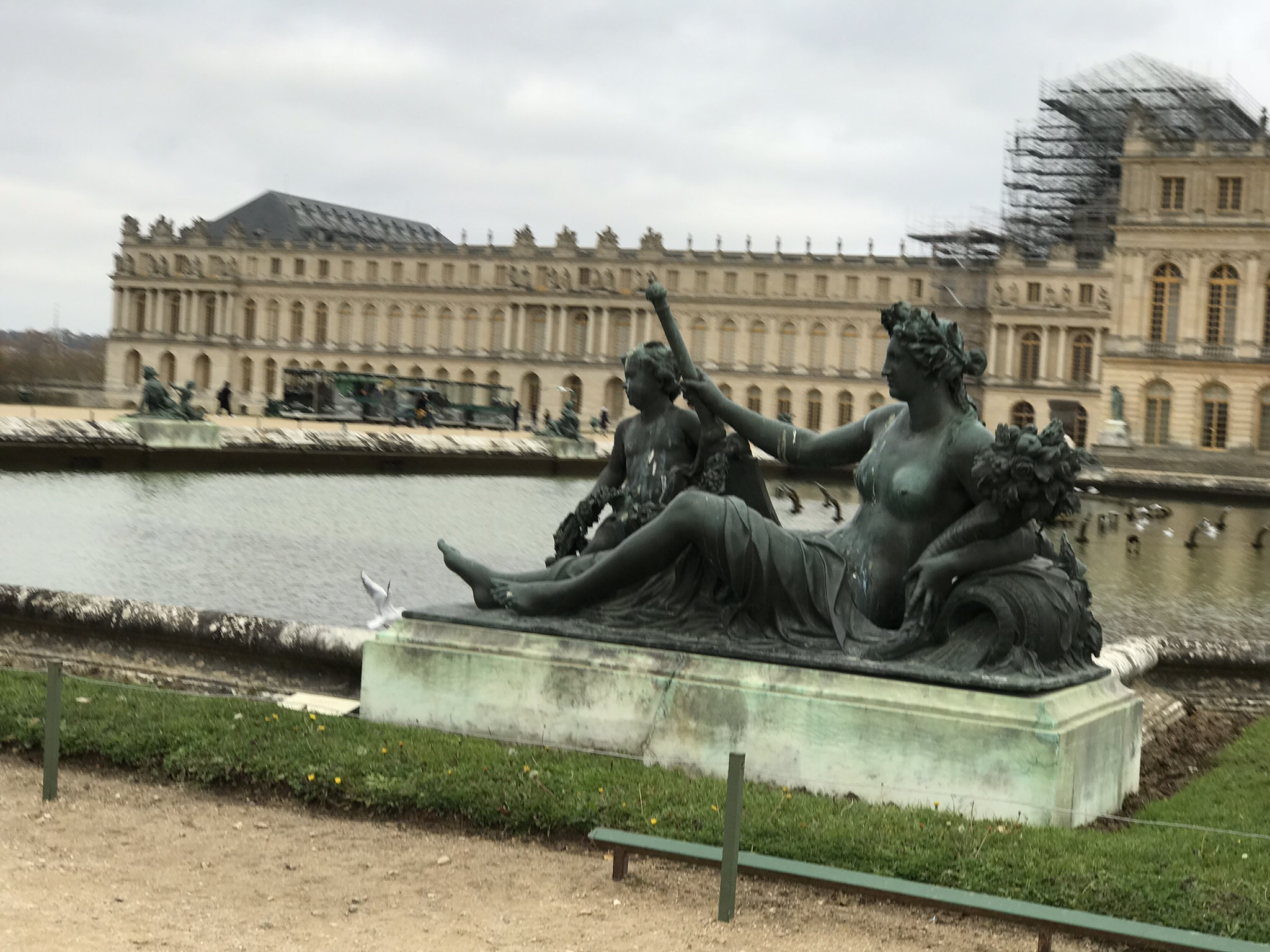 The Versailles gardens are enormous and absolutely gorgeous. The statues all around the acres of gardens are so realistic and life-like. Their perfection is admirable, even on a cloudy winter afternoon.