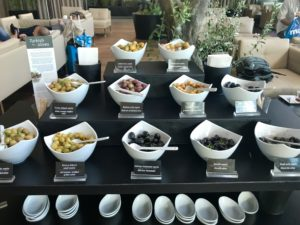 About a dozen unique flavors of olives are attractively displayed in the Turkish Air Lounge. The attention to detail with the small serving dishes, cutlery and wooden mini tongs add to the presentation and practicalities.