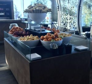 The fruit cart in the Turkish Air Lounge is perfect for a refreshing snack.