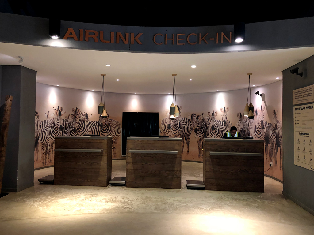 The Skukuza Airport check-in desk looks more like a hotel registration desk than an airport check-in desk.