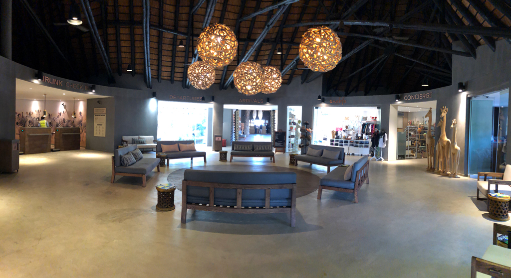 The Skukuza airport in Kruger National Park is circular with offices and stores around the circumference and sitting area in the middle.