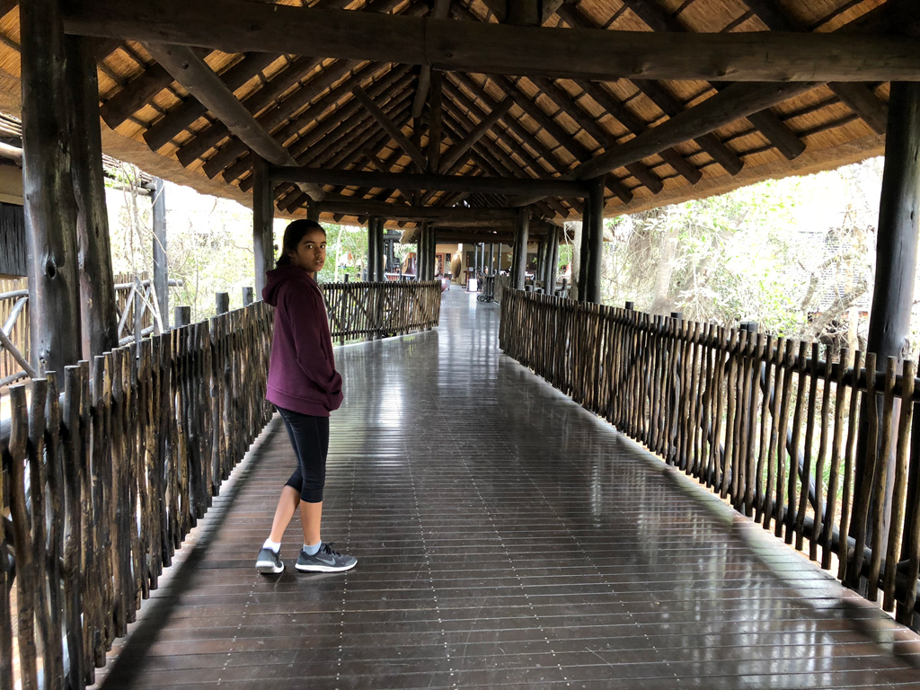One of the walkways leading to our rooms in Protea hotel by Mariott in Kruger.
