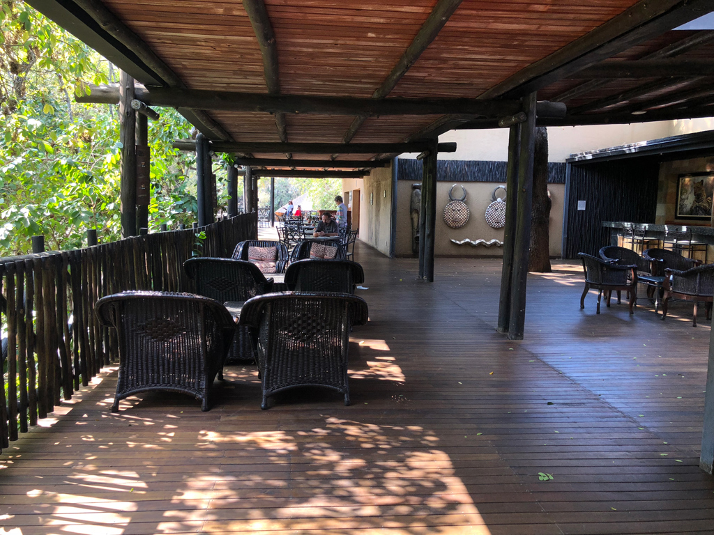 One of many outdoor sitting areas in Protea hotel near Kruger National Park.