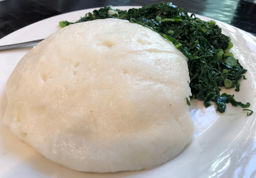 Traditional African food at its simplest in Zimbabwe Airport