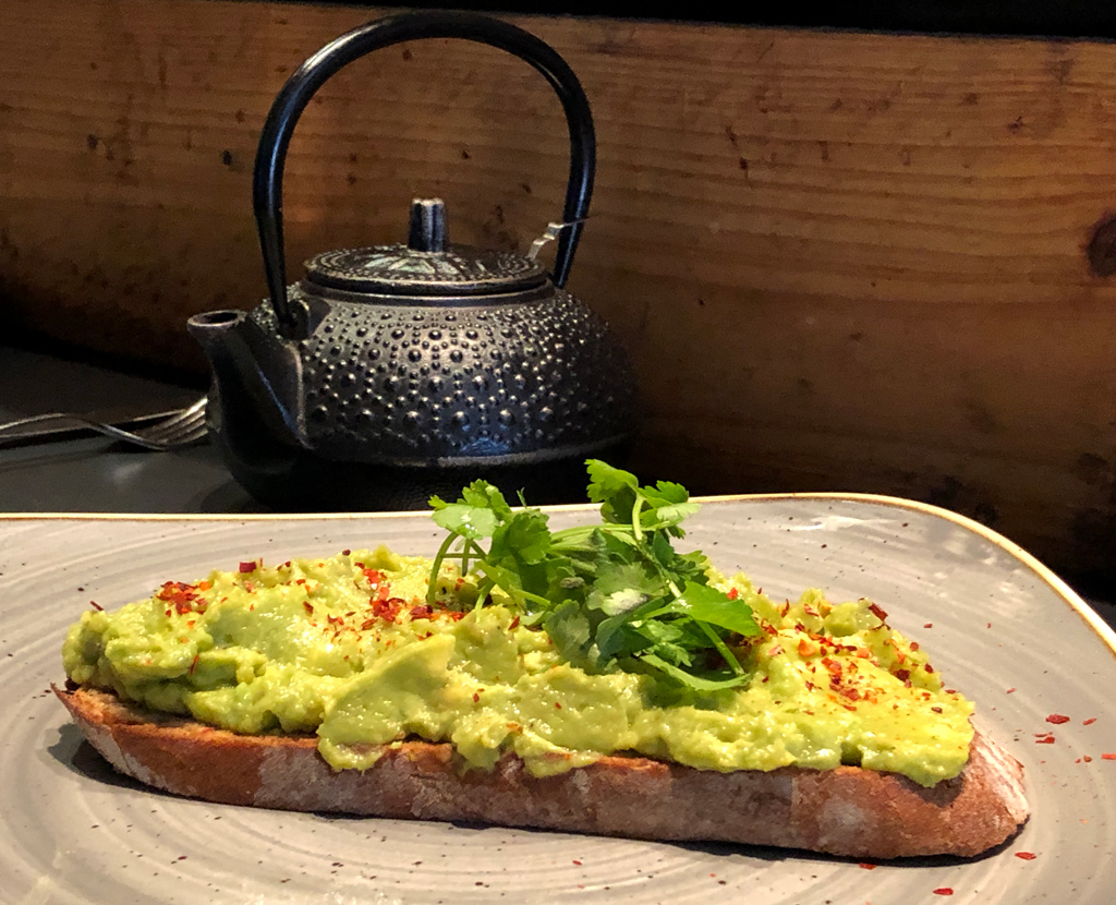 A delicious toast with a South African avocado in Jason's Bakery, Cape Town.