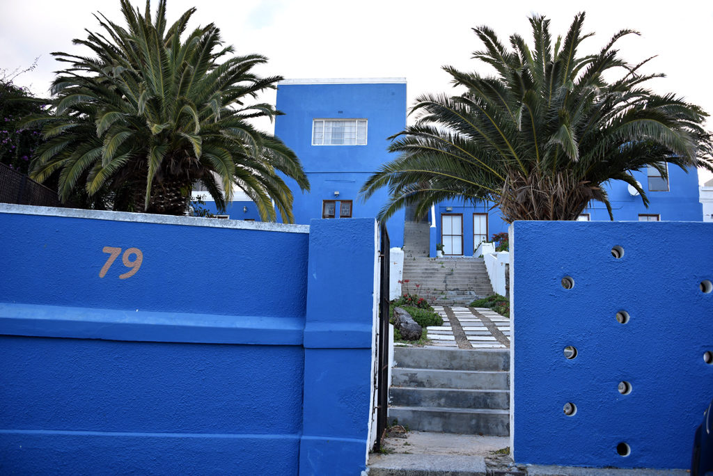 A large and beautiful blue house in Bo-Kaap, Cape Town.