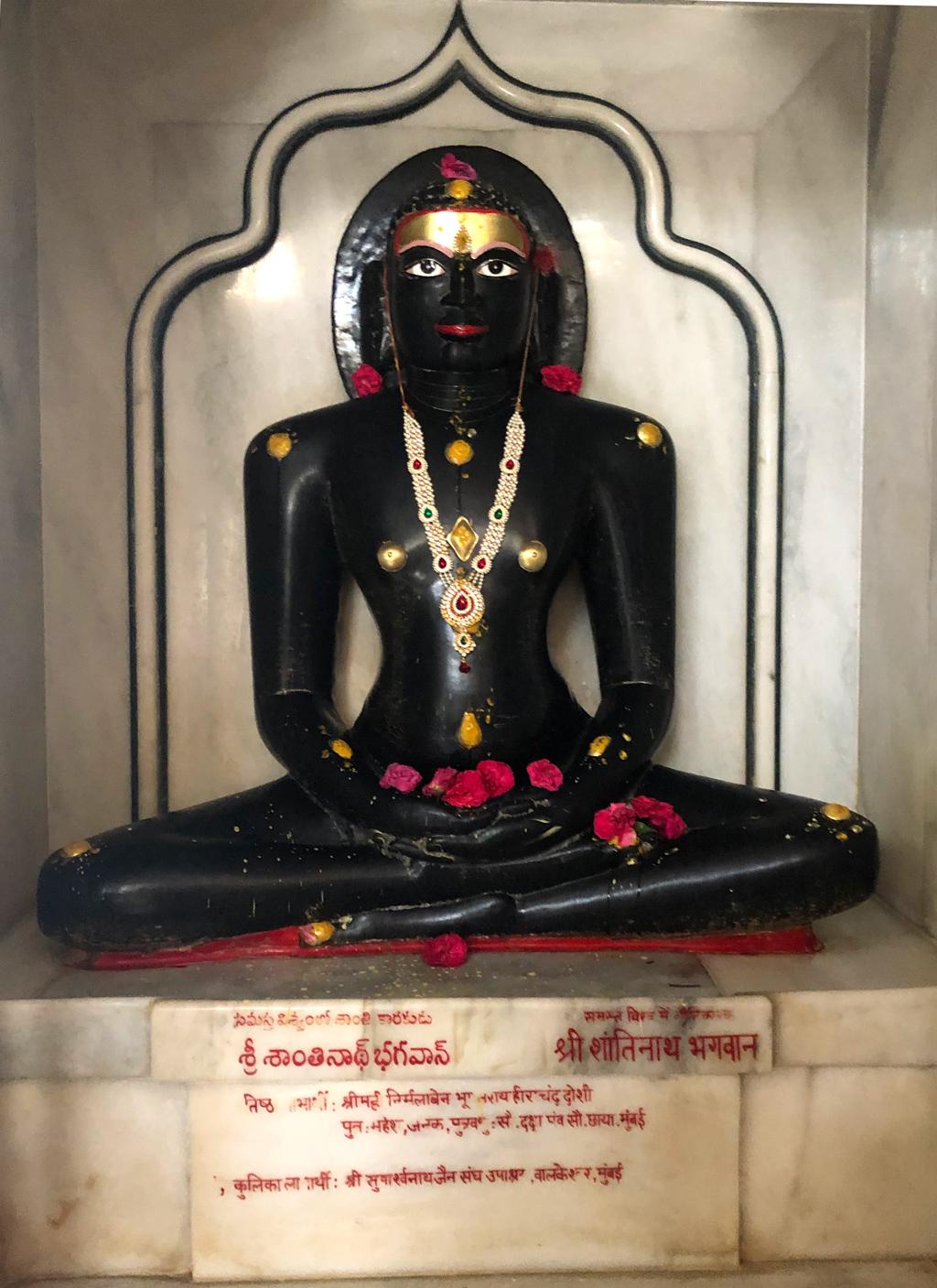 Sri Shanthinath bhagwan's statue in Kulpakji's Jain tirth near Hyderabad.