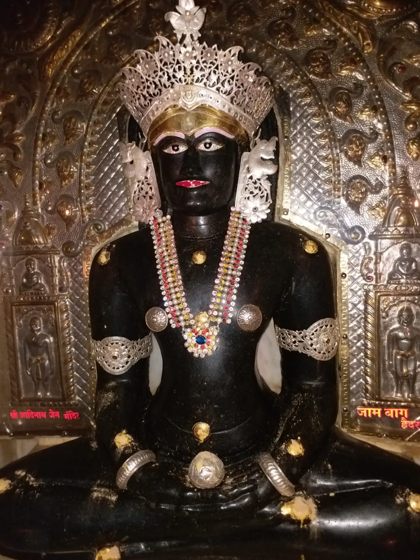 Adinath bhagwan's statue in Kulpakji temple. Also known as Manikya dev locally.