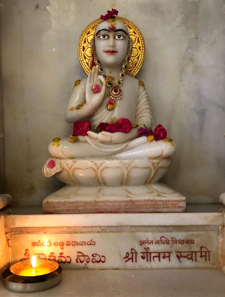 Sri Gautam Swami's statue in Kulpakji temple in Telangana