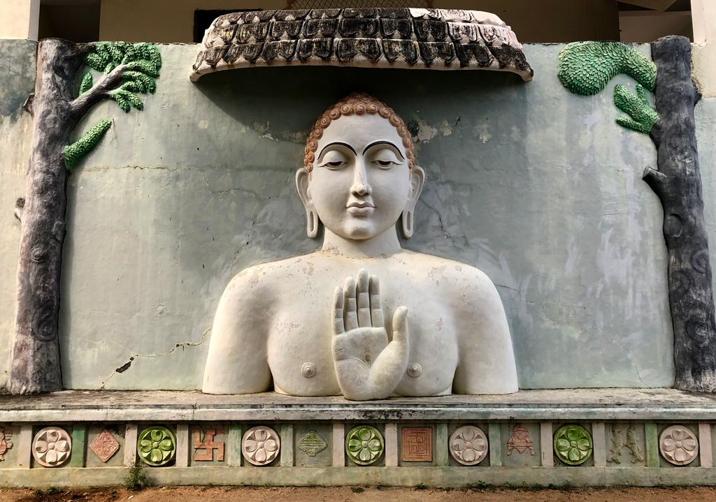 A large outdoor statue near the dharamshala in Kulpakji temple, a Jain Swetambar Tirth near Hyderabad.