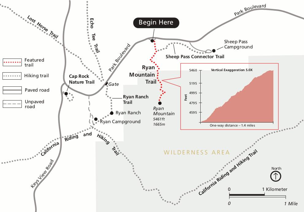 Ryan mountain trail map in Joshua Treen NP