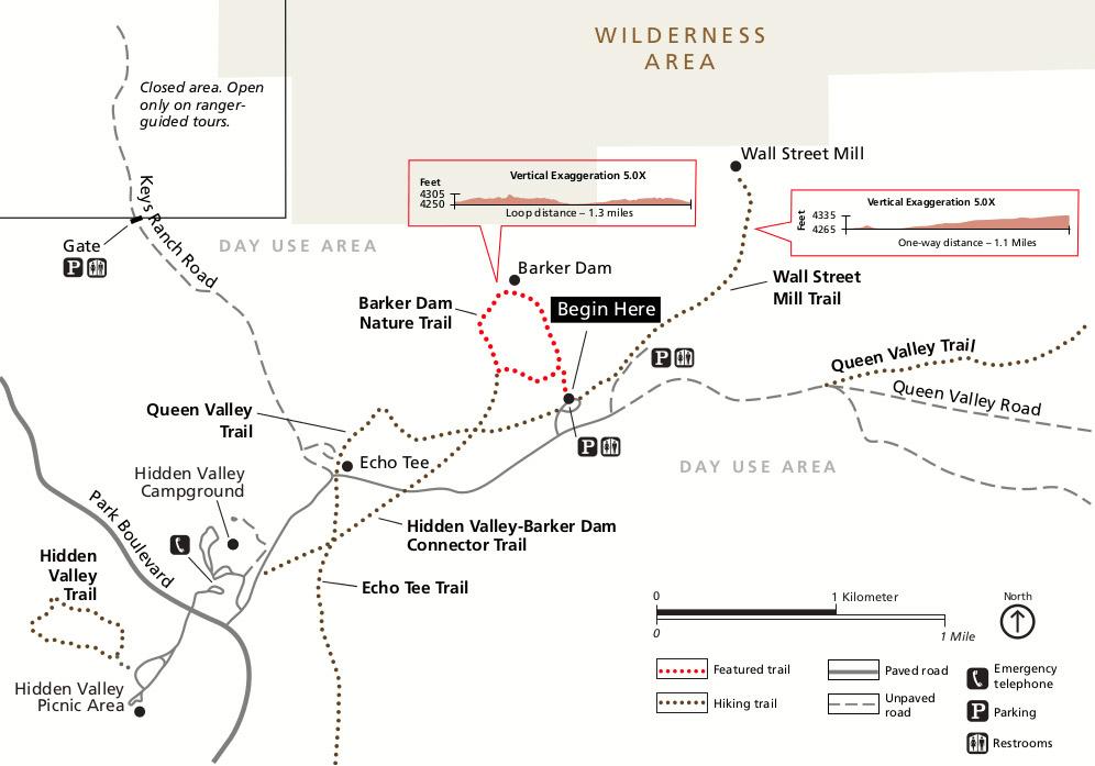 Barker Dam and Wall Street Mill trail map at Joshua Tree National Park..