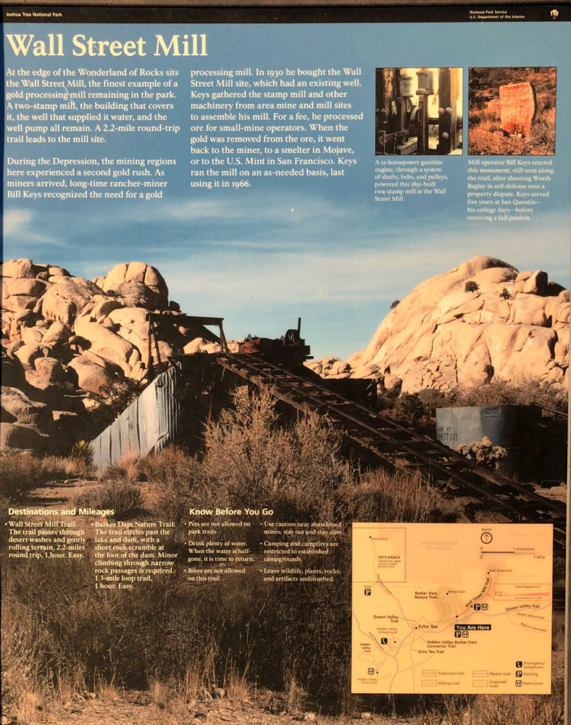 Joshua Tree National Park sign about Wall Street Mill.